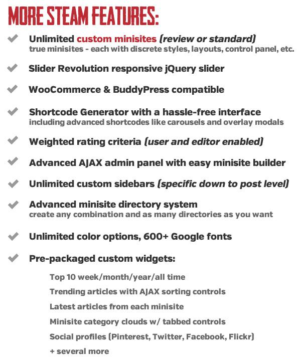 Steam WordPress Theme Features