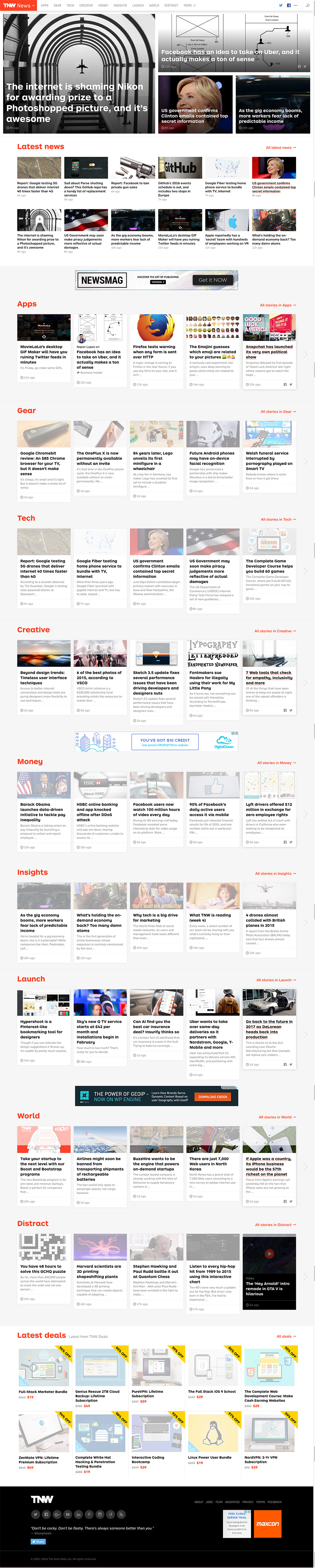 Tnw- The Next Web Front Page