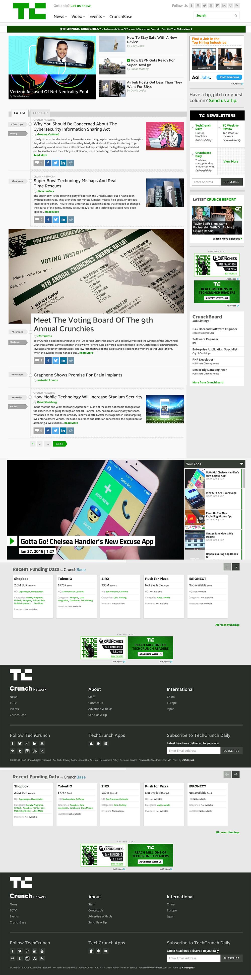 Tech Crunch Website review